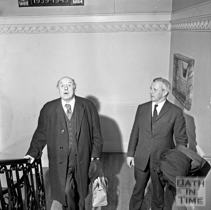 Sir John Betjeman arrives at the Guildhall to talk to the Institute of Bankers 14 January 1971