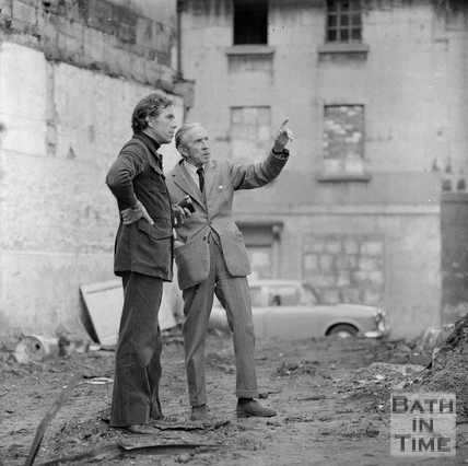 Robert Henshaw from the Bath Preservation Trust shows Lord Snowdon the Ballance Street area March 1972