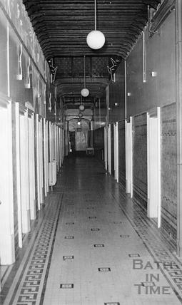 View down the corridor of the Spa Treatment Centre c.1975