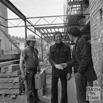 Lord Snowdon greets site workers at the Beaufort Hotel, Walcot Street March 1972