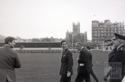 The Prince of Wales walks to his helicopter on the Recreation Ground 1972