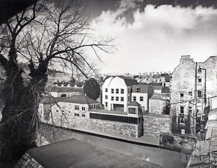 View across River Avon to artists impression of Grove Street development c.1975