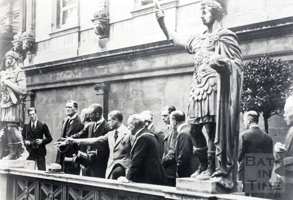The Prince of Wales is shown the Roman Baths 1923
