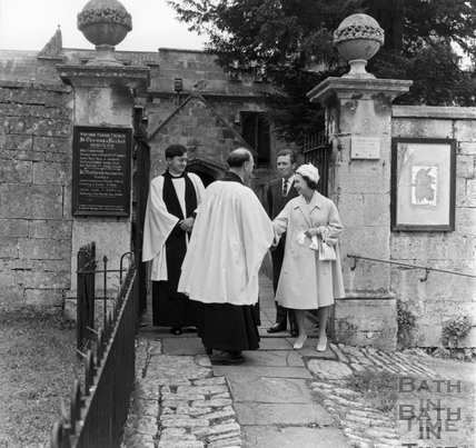 Princes Margaret and Lord Snowdon after early morning communion at Widcombe Parish Church July 1963