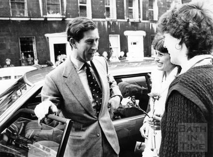 Prince Charles meeting two admirers 1980