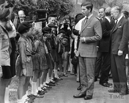Prince Charles meets the Brownies of Newton St Loe, June 1970