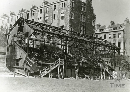 The remains of the Visitors Stand at the Recreation Ground, Bath, 1942