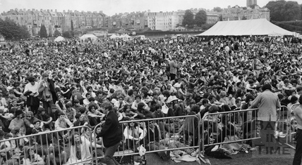 The 1969 Bath Blues Festival, crowds contained in the Recreation Ground