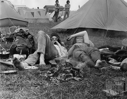 The 1970 Bath Blues Festival, crowds relax whilst camping
