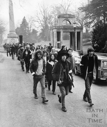 The 1969 Bath Blues Festival, crowds walking through Royal Victoria Park