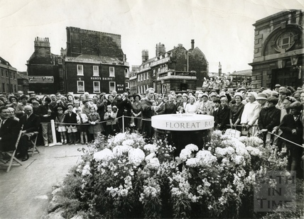 A dais containing a festival flame for the 1965 Bath Festival