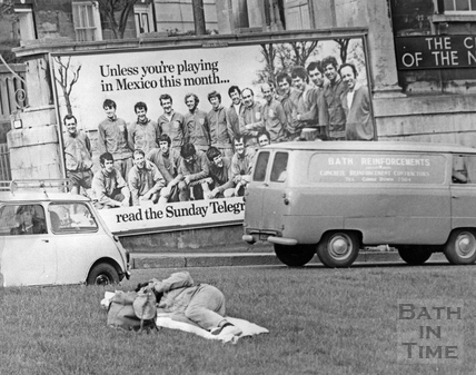 A sleeping visitor to Bath for the 1970 Bath Blues Festival and a Mexico World Cup poster