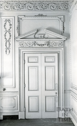 Decorative doorway in the Salon in Wood House, Twerton c.1964