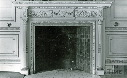 Fireplace in the Salon in Wood House, Twerton c.1964