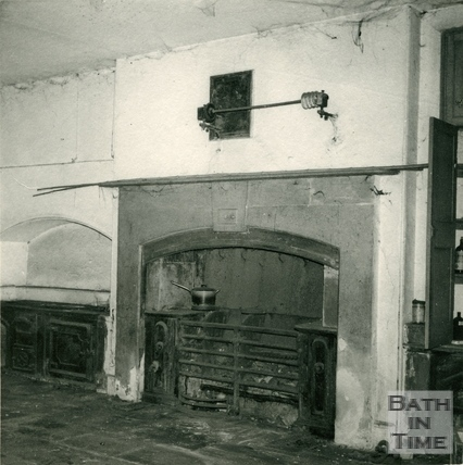 Fireplace and range in the kitchen of Wood House, Twerton c.1964