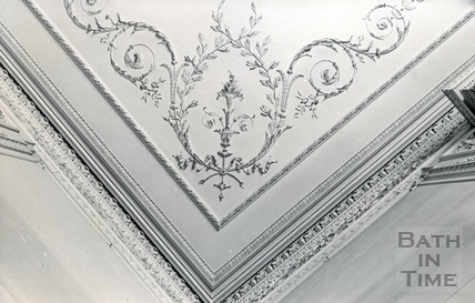 Detail of ceiling plasterwork in the Salon, Wood House, Twerton c.1964