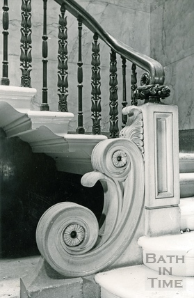 Base of main staircase, Wood House, Twerton c.1964