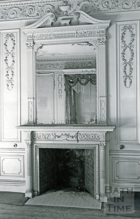 Fireplace and mirror in the Salon of Wood House, Twerton c.1964