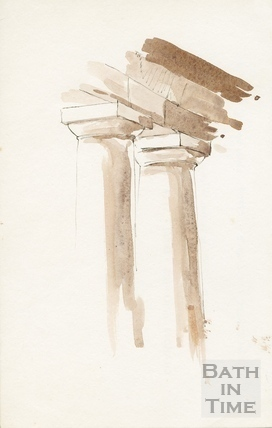Watercolour study of Doric columns. Undated