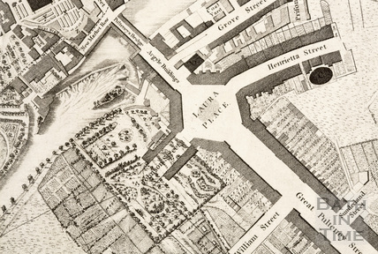 Harcourt Masters map of Bath, showing Spring Gardens 1808 - detail
