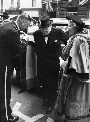 Winston Churchill arriving at the Guildhall 1950