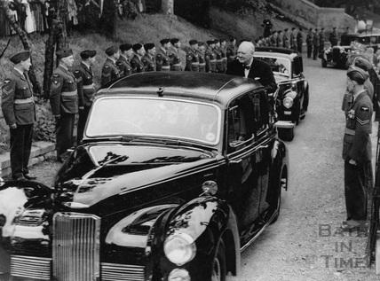 Winston Churchill leaving the Pavilion driving through a Guard of Honour, Bath, 1950