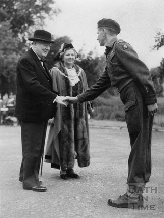 Winston Churchill in Royal Victoria Park, preparing to inspect the Guard of Honour 1950