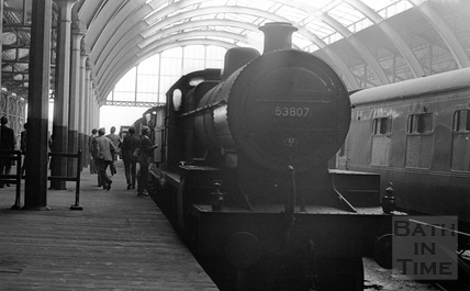 Enthusiasts gather at Green Park Station for possibly one of the last outings of the Somerset & Dorset Railway c.1965
