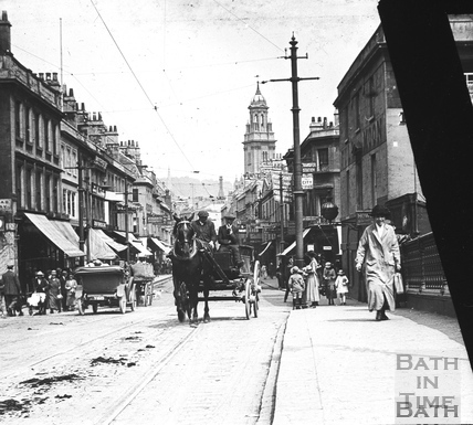 Looking up Southgate Street from the Old Bridge c.1900