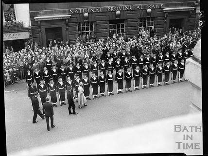 The Queen inspecting the parade of sailors outside the Guildhall, 1956