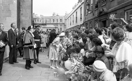 The Queen on walkabout outside the Abbey August 1977