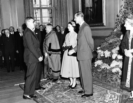 The Queen and Prince Philip inside the Guildhall, 1956
