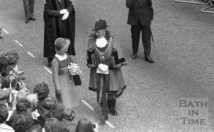 The Queen with Mayor Thomas John Cornish, outside the Guildhall August 1973