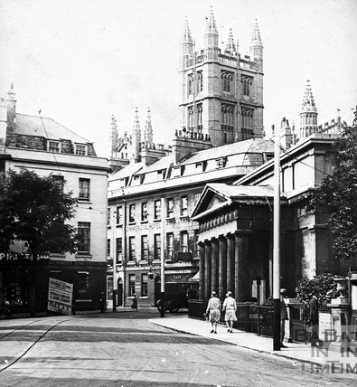 The York Street Wine Vaults, and the portico of the Royal Literary and Scientific Institute c.1920
