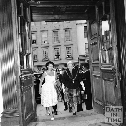 Princess Margaret entering the Guildhall, accompanied by Mayor Mrs. Guielma Maw, June 1962