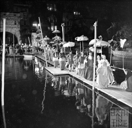 Performers at La Serenissima on a specially constructed pontoon on the river, June 1962