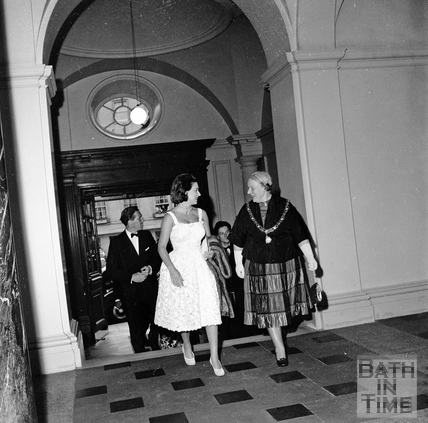 Princess Margaret and Lord Snowdon entering the Guildhall, accompanied by Mayor Mrs. Guielma Maw, June 1962