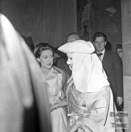 Princess Margaret meets a performer in Parade Gardens, Bath Festival, June 1962