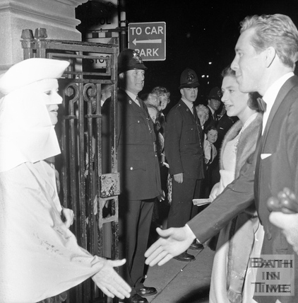 Princess Margaret and Lord Snowdon meet performers at the entrance to Parade Gardens, Bath Festival, June 1962