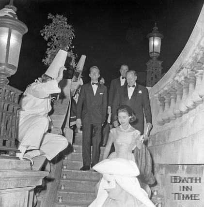 Princess Margaret, Lord Snowdon and Ted Leather descent the steps into Parade Gardens June 1962
