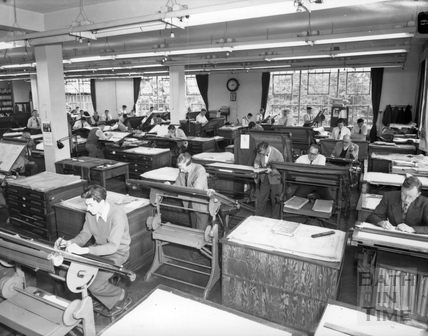 Crane drawing office, Stothert & Pitt, Newark Works 1966