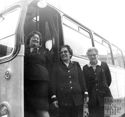 Three lady Bath Bus clippies October 1970