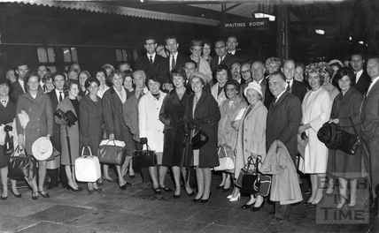 A party from the Ministry of Defence (navy department) leaving Bath Spa Station September 1966