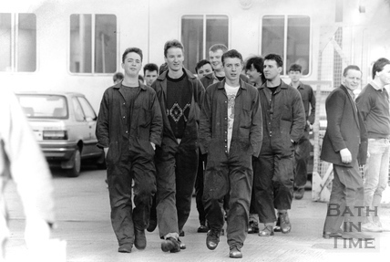 Young apprentices at the Stothert & Pitt factory gate in January 1989
