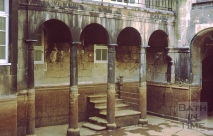 King's Bath, colonnade, reservoir empty 1977