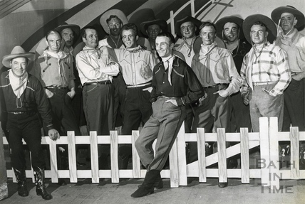 Male cast members of Bath Operatic Dramatic Society (B.O.D.S.) production of Oklahoma in March 1963