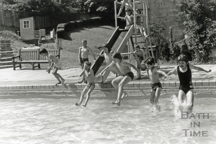 Children making the most of the weekend sunshine at Cleveland Baths, 1978