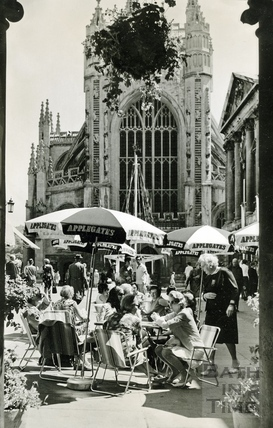 Coffee al fresco in front of Bath Abbey, June 1966