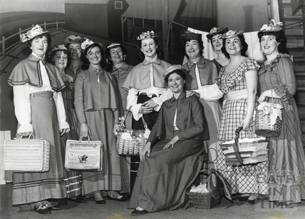 Female cast members of Bath Operatic Dramatic Society (B.O.D.S.) production of Oklahoma in March 1963