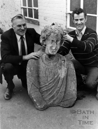 King Bladud's statue, being reunited with its missing head 15th March 1984
